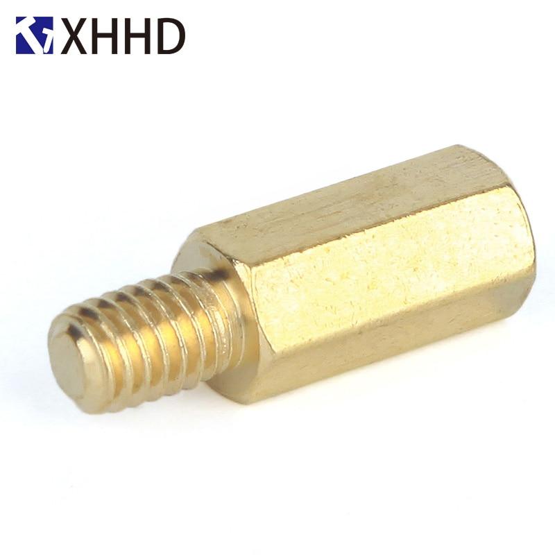 Купить с кэшбэком M2.5xL Threaded 4mm/5mm/6mm Brass Male Female Knurl Standoff Mount Single Round Spacing Pillar Threaded PCB Mountboard Spacer