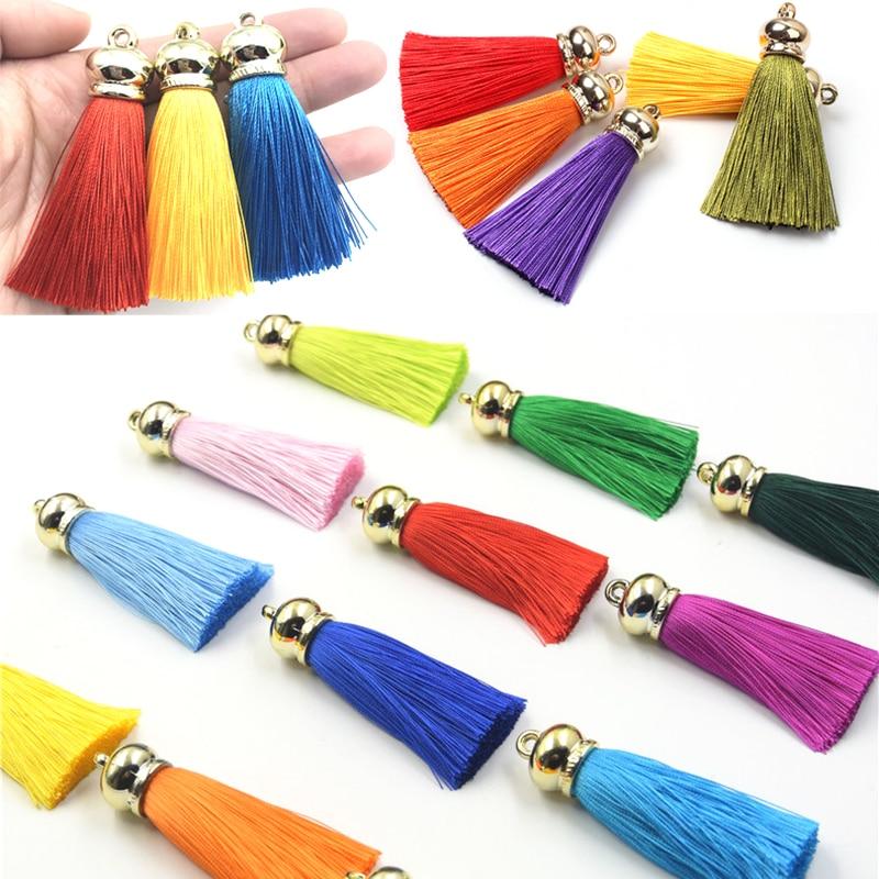 36 unids/lote 70mm seda borlas pendientes accesorios DIY artesanía borla para cortina joyería hallazgos llavero teléfono móvil correas colgante