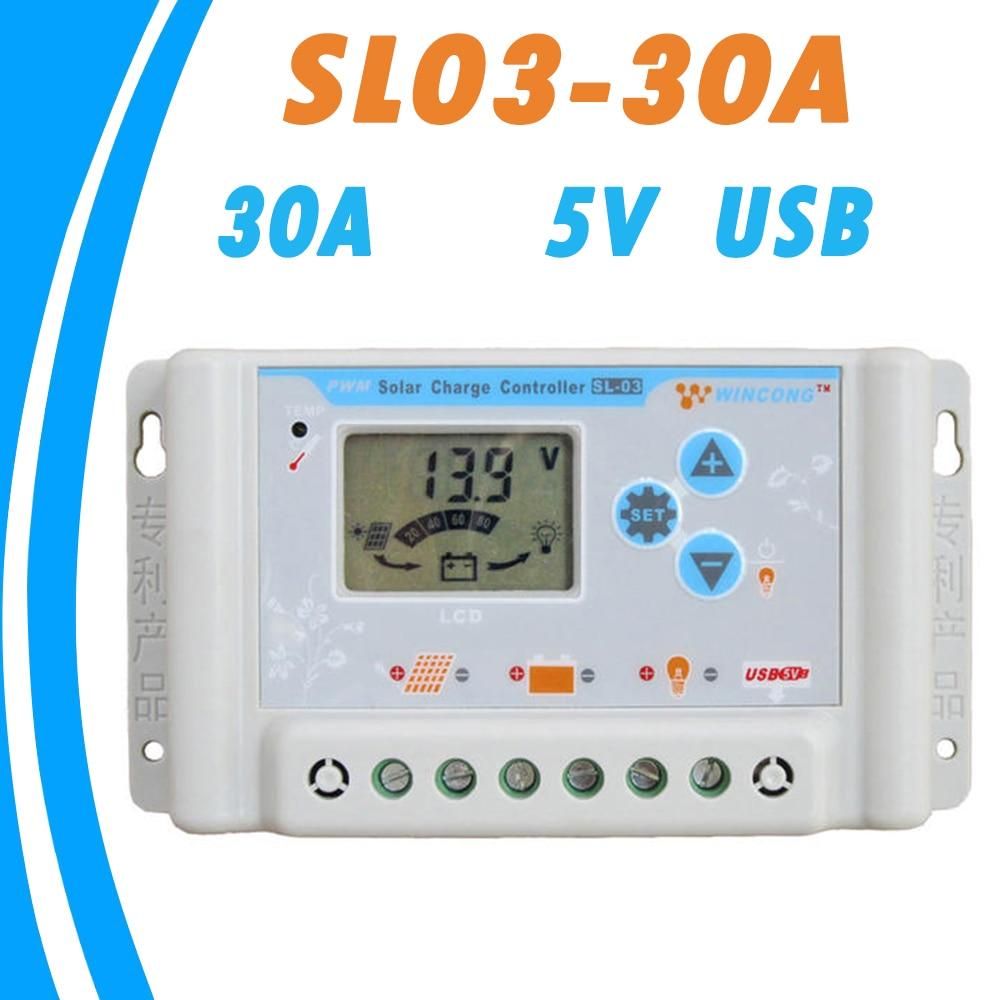 Контроллер солнечного зарядного устройства 12 В 24 в 30 А, USB 5 в ЖК-дисплей, экран с широким температурным диапазоном, регулятор солнечной панел...