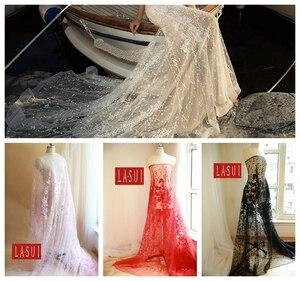 LASUI  4 COLORS Wedding dress Pastoral sequins embroidered dress  noble clothing fabrics Plant flowers evening dress X0113