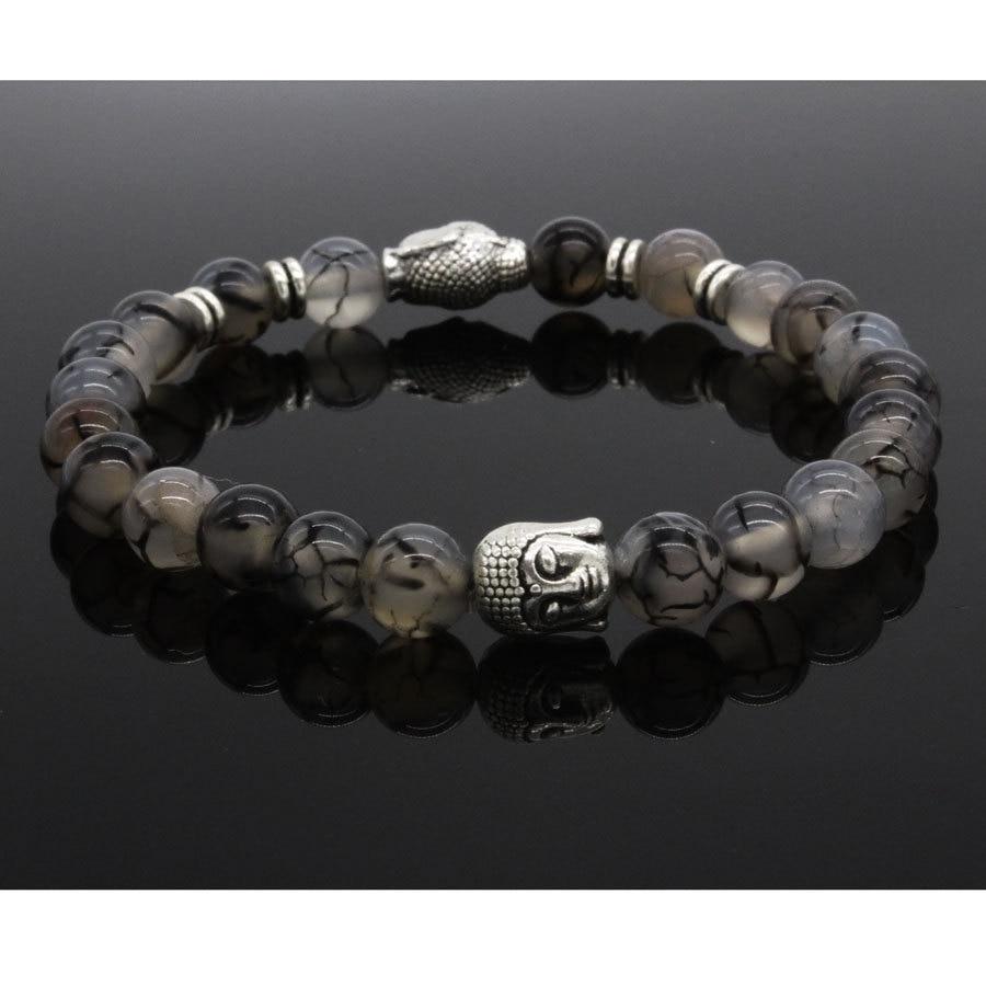 Мужской браслет с головой Будды, черный браслет с натуральным драконом, 8 мм