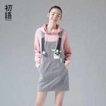 Toyouth Women Suspender Dress Cute Pocket Cat Printed Summer Jeans Dresses Students Striped Mini Denim Bodycon Vestidos Mujer