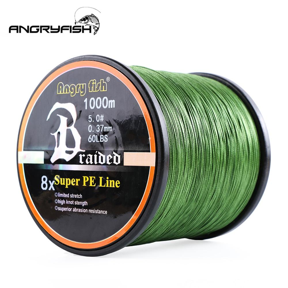 Angryfish Wholesale 1000Meters 8x Braided Fishing Line 8 Colors Super PE Line