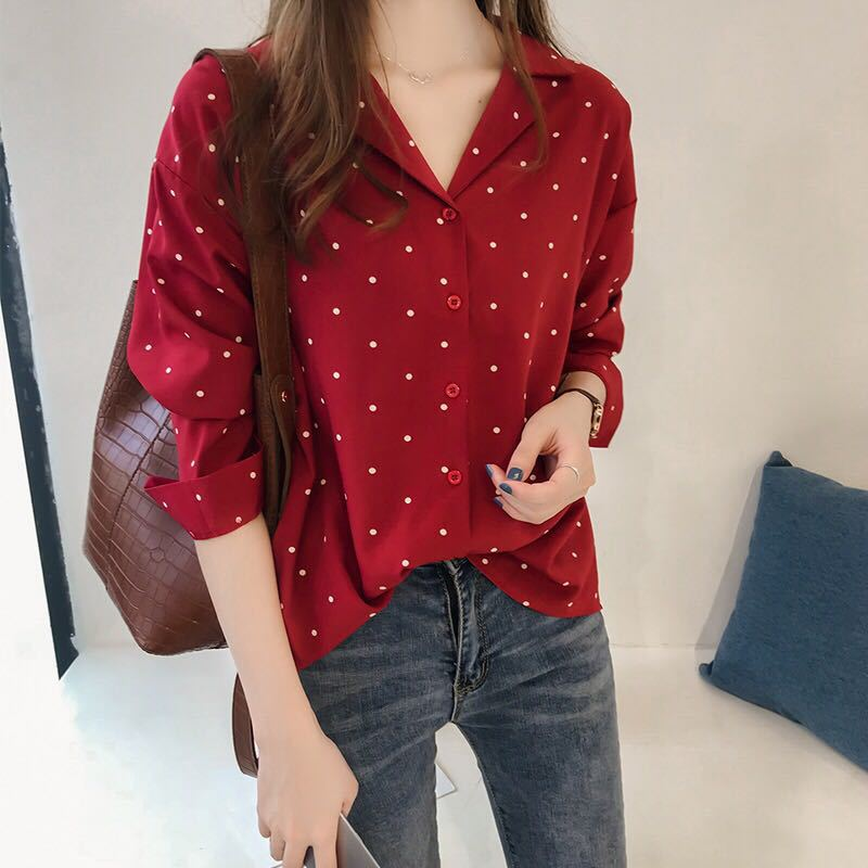 Blusas de mujer 2019, blusa con dibujo de lunares, Blusa de manga larga con cuello vuelto, camisa de oficina, túnica roja negra, Tops casuales de talla grande, Blusas