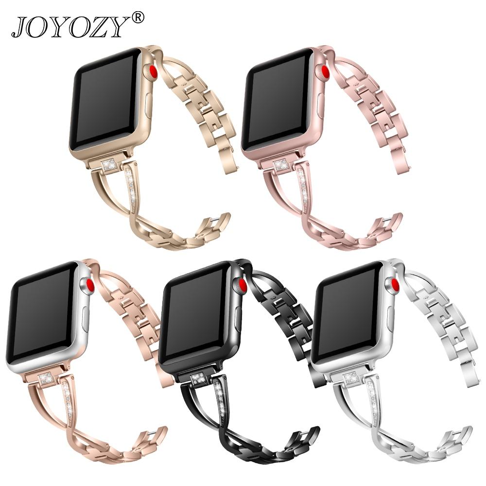 Joyozy diamante pulseiras de relógio para apple watch 38/40/42/44mm pulseira iwatch aço inoxidável pulseira série 4 5 3 2 1 feminino banda masculina