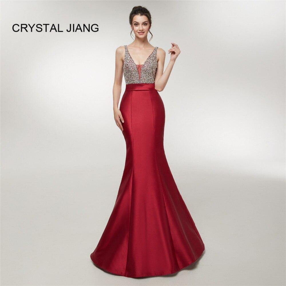 Hot Sale Sexy V Neck Heavy Beaded Red Elastic Satin Open Back Mermaid Dress Formal Evening Dresses Long