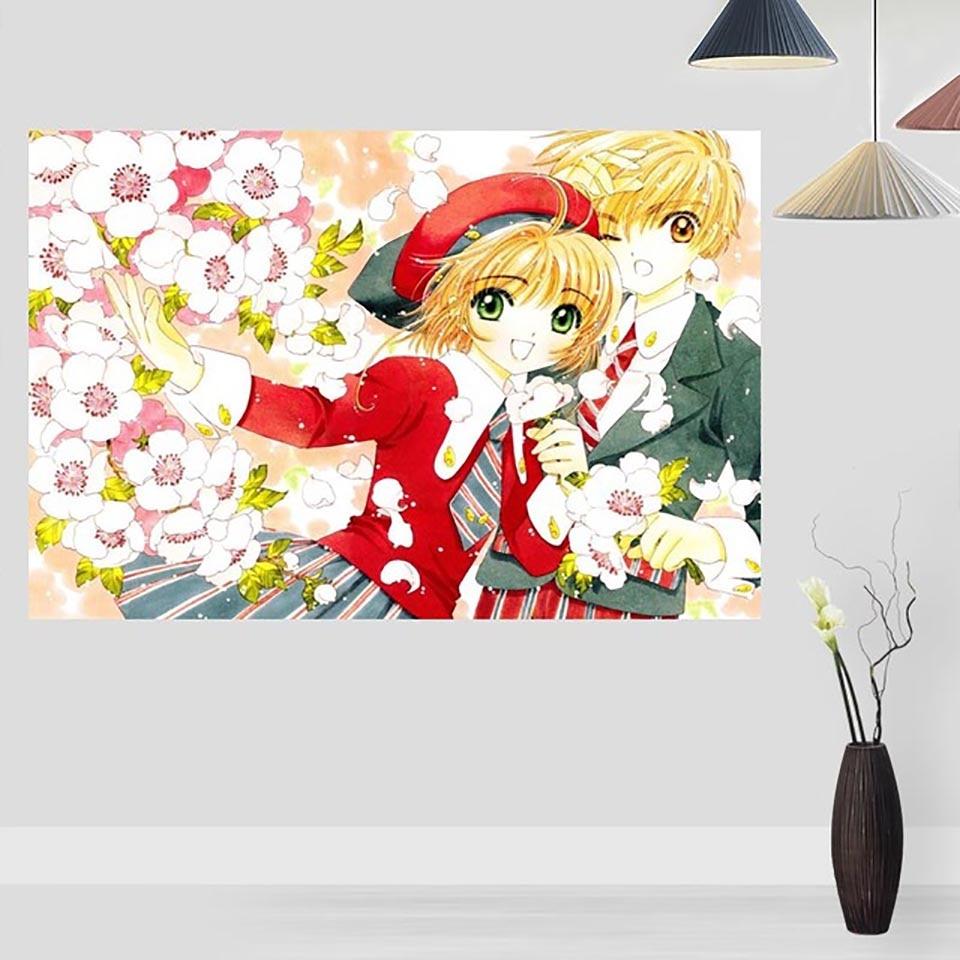 Pintura de punto de cruz 5D diamante tarjeta Captor Sakura imagen Casa Decor bordado Anime pegatina para pared con patrón completa cuentas cuadradas