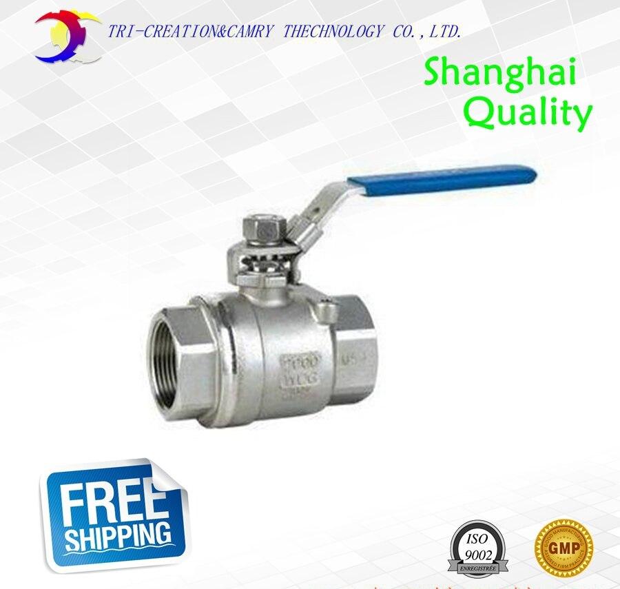 Válvula de bola de acero inoxidable hembra 1/2 DN15, válvula de bola atornillada de 2 vías 316/manual de rosca, válvula de bola de mango recto, válvula de gas/aceite/líquido