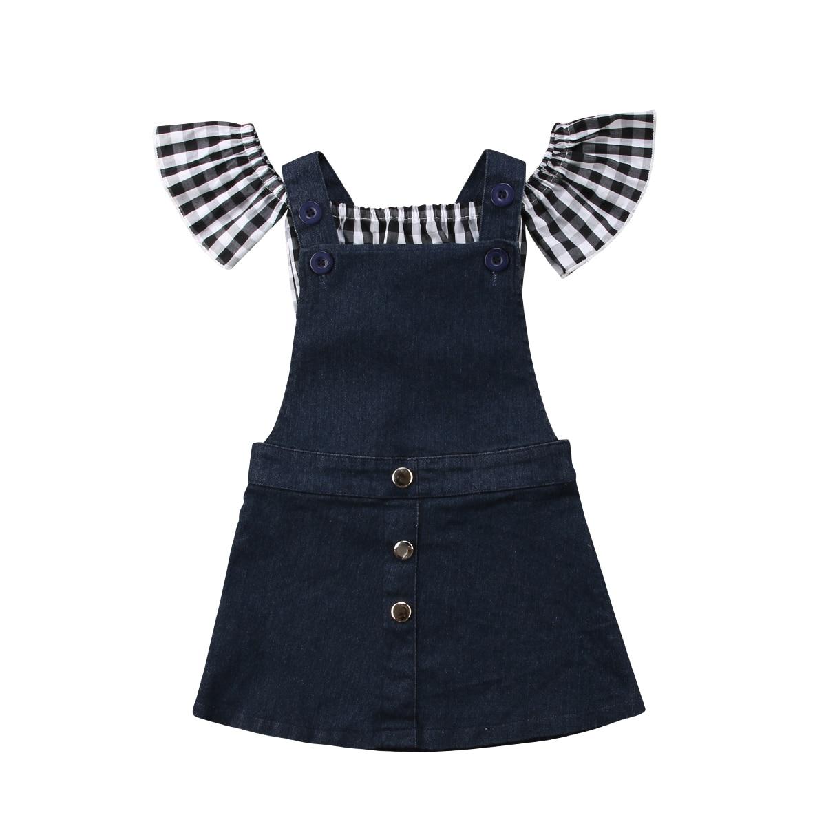 Conjunto de ropa a cuadros para niños pequeños, camisetas con hombros descubiertos, faldas con tiras Demin, conjunto de 2 piezas