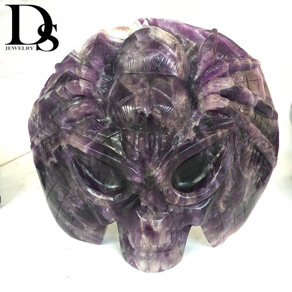 1950g sueño amatista calavera alienígena con estatuilla de araña tallado a mano diablo cristal de cuarzo cura para el cráneo piedra de cristal decoración del hogar