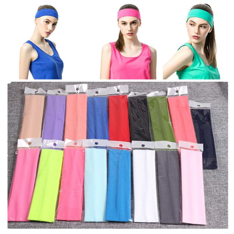 Solid Stretch Band Men Women Sport Sweat Sweatband Headband Yoga/Gym Stretch Hair Head Band Adjustable Bboy Caps Outdoor Run