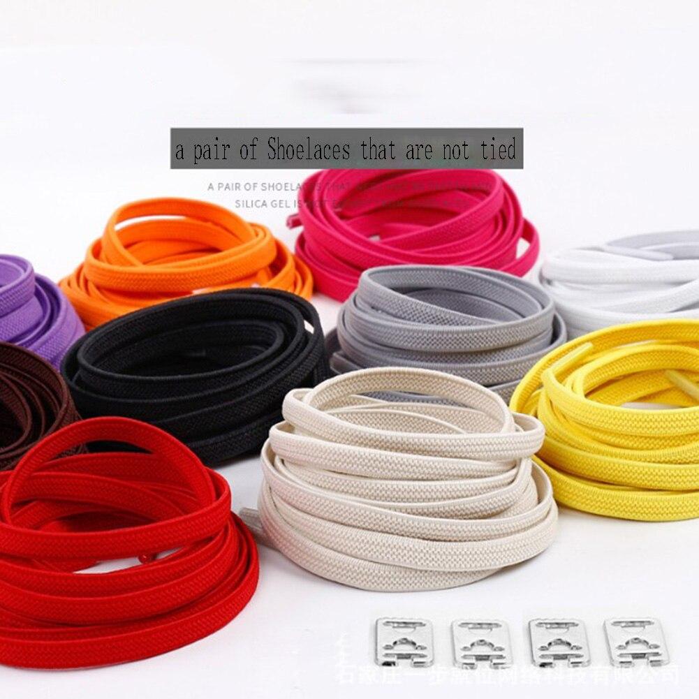 1 par de cordones de goma duraderos de 100CM sin cordones para zapatillas deportivas de deporte para exteriores con encaje rojo sólido seguro cordones de zapatos planos elásticos