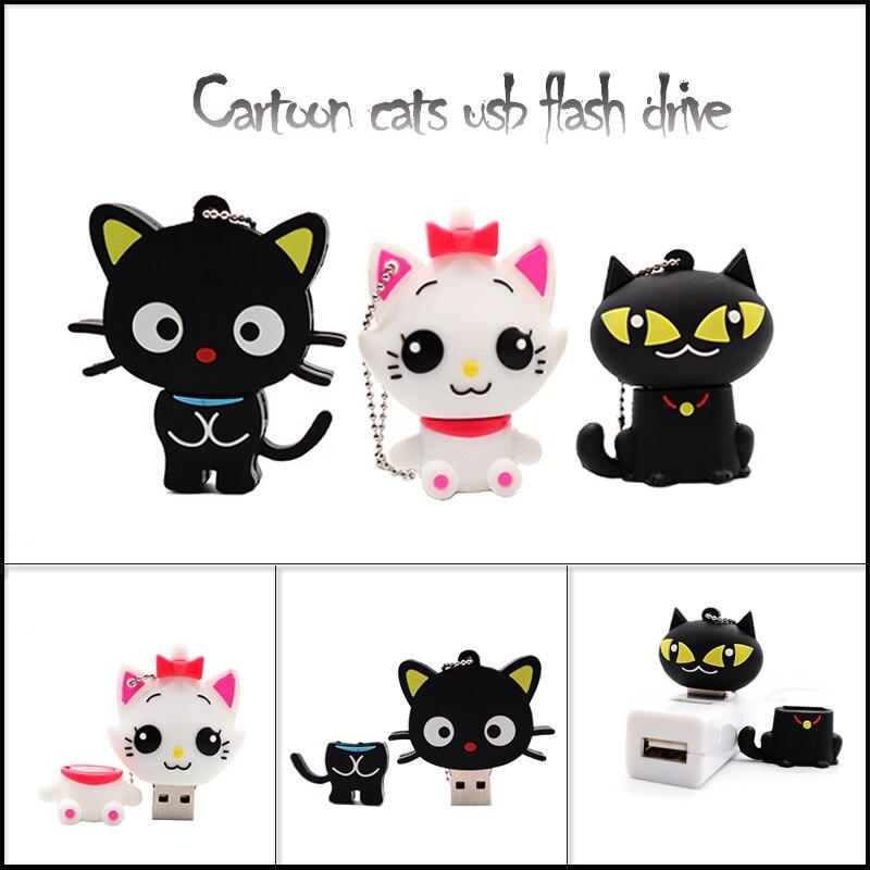 Gran oferta de memoria usb con diseño de gatos de dibujos animados, bonito bolígrafo de animales, memoria usb de 4GB, 8GB, 16GB, 32GB, 64GB, regalo personalizado