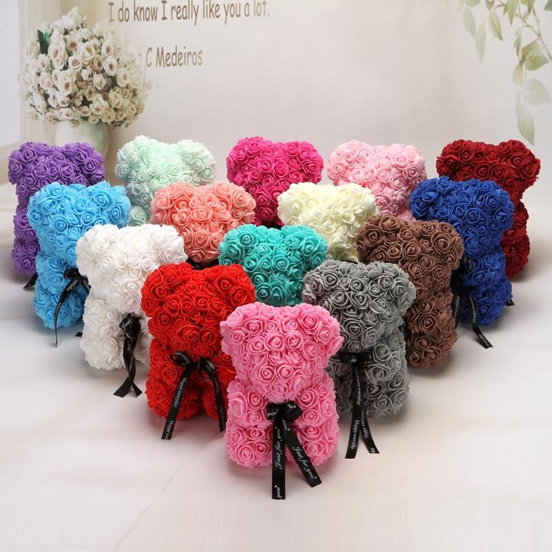 Gota envío 25 cm espuma Rosa oso de peluche flores cumpleaños regalo para novia boda Artificial fiesta hogar Decoración regalo de San Valentín