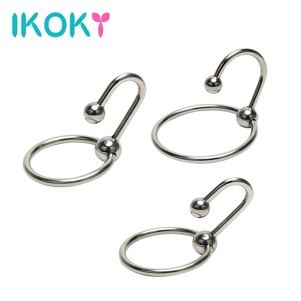 IKOKY pénis anneaux pénis Plug urétral dilatateur cathéter perles sonores mâle chasteté dispositif avec anneau de tête en acier inoxydable anneau de coq