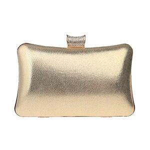 DAIWEIWomen Evening Bag Clutch Handbag With Diamonds leatherette PU All Seasons Wedding Event/Party Formal Metal Chain New B