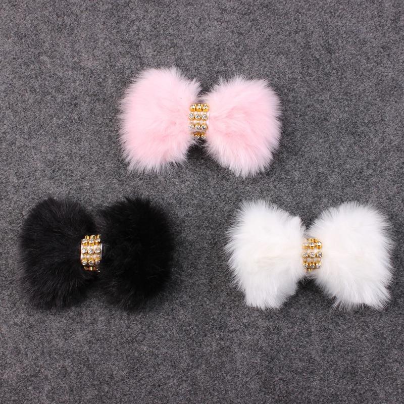 Bandeau daccessoires à cheveux en plumes pour enfants   Pour filles et garçons, grand bandeau en fausse fourrure de lapin, avec des strass et plumes, blanc/rose/noir