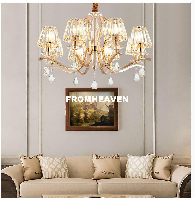 Candelabro de Cristal moderno, candelabro de Cristal de Color dorado, lampara vintage...