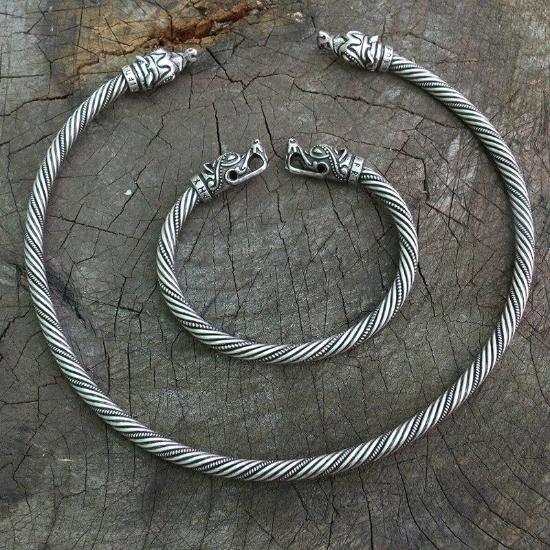 Lanseis 1 Uds. Pulsera de lobo vikingo cabeza de Lobo vikingo Fenrir anillo de cuello Torc Ragnar hecho a mano pesado alambre trenzado de latón pagano Nórdico