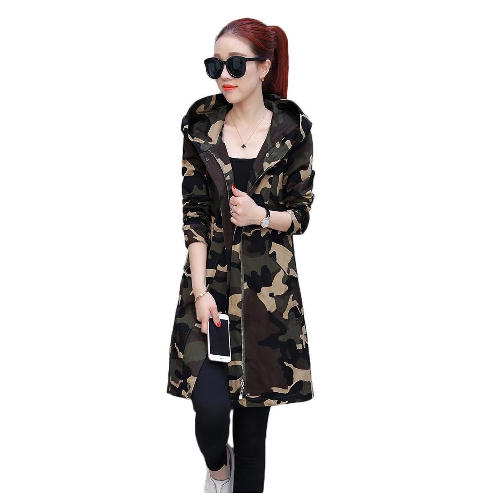 Primavera Jaqueta femenina ropa de camuflaje larga 2019 nuevo otoño coreano con capucha cárdigan gabardina Casual moda ropa de abrigo f907