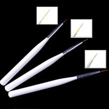 3Pcs/set White Nail Art Lines Painting Pen Brush Professional High Quality UV Gel Polish Tip 3D Design Manicure Drawing Tool Kit