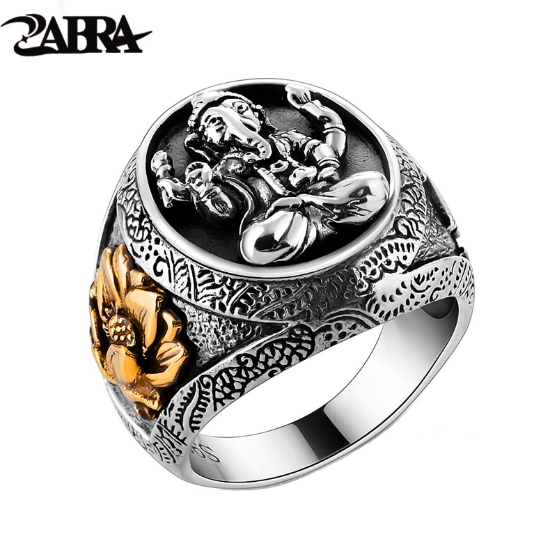 Thailand Buddha Elephant Ring Authentic 100% 925 Sterling Silver Rings for Men Vintage Punk Style GANESHA GANESH Men Jewelry