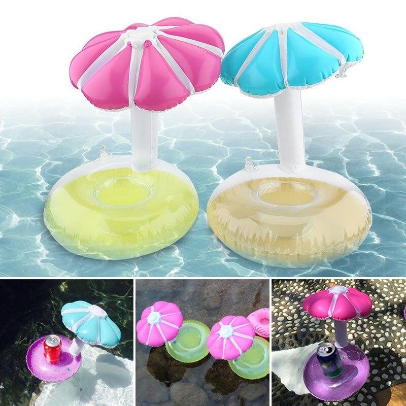 Mini inflable soporte para latas de bebidas PVC paraguas flotante piscina baño playa fiesta juguete ED-envío