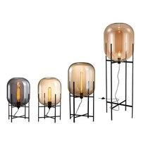Modern Minimalist Nordic Floor Lamp Table Light Toolery Desk Lamp Living room Reading Glass Amber Lampshade Floor light E27 lamp