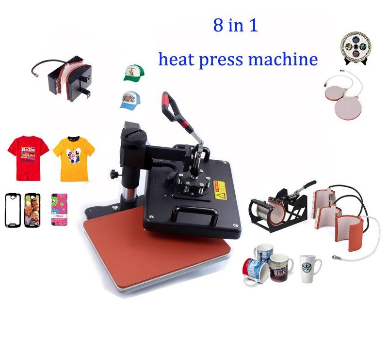 Digital heat transfer machine sublimation photo t-shirt printing machine 8 in 1 for mug cap plate DX801