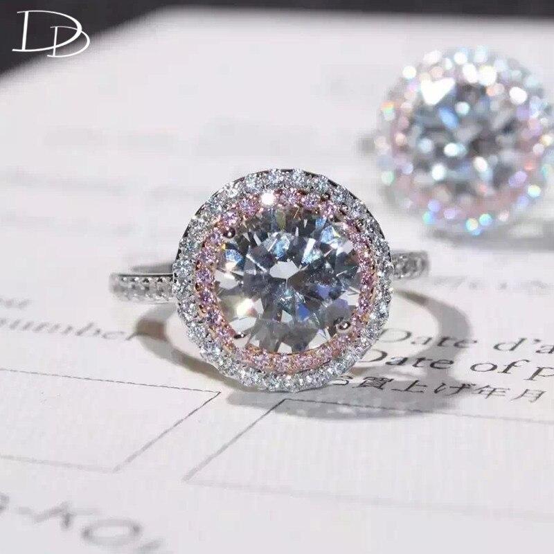 Dodo bonito rosa pequeno aaa zircon anéis redondos para mulher luxuoso 7mm principal pedra casamento noivado jóias anillos jz069