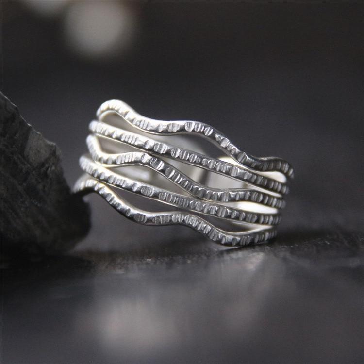 2018 moda superior anillo femenino 925 Sterling Hollow Out Multi-layer anillo para mujeres personalidad abierto de Chiangmai, Tailandia a mano