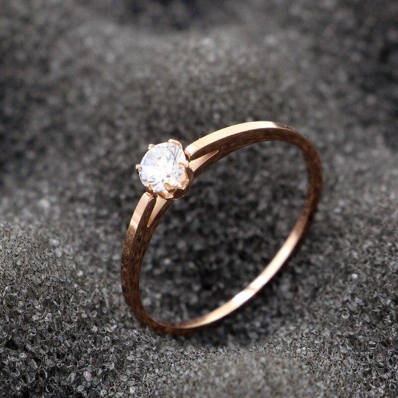 Martick estilo clásico anillos de cristal fino Rosa dorados de mujer seis garras brillante cúbico anillos de boda Size4-9 mujer R113