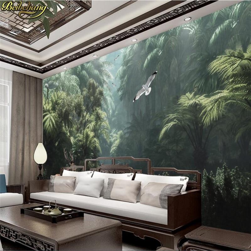 Beibehang pintado a mano bosque de lluvia tropical alce pájaro fresco café lounge murales de papel pintado personalizados
