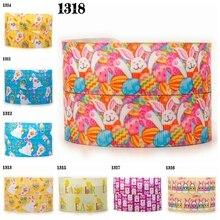 "free shipping 10yards 1 "" 25 mm Easter day rabbit pattern ribbon printed grosgrain ribbon"