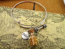 Offre spéciale 65mm bracelets en argent bracelets graines de moutarde-BIBLE de foi dans la bouteille en verre avec haltère, kettlebell, haltères