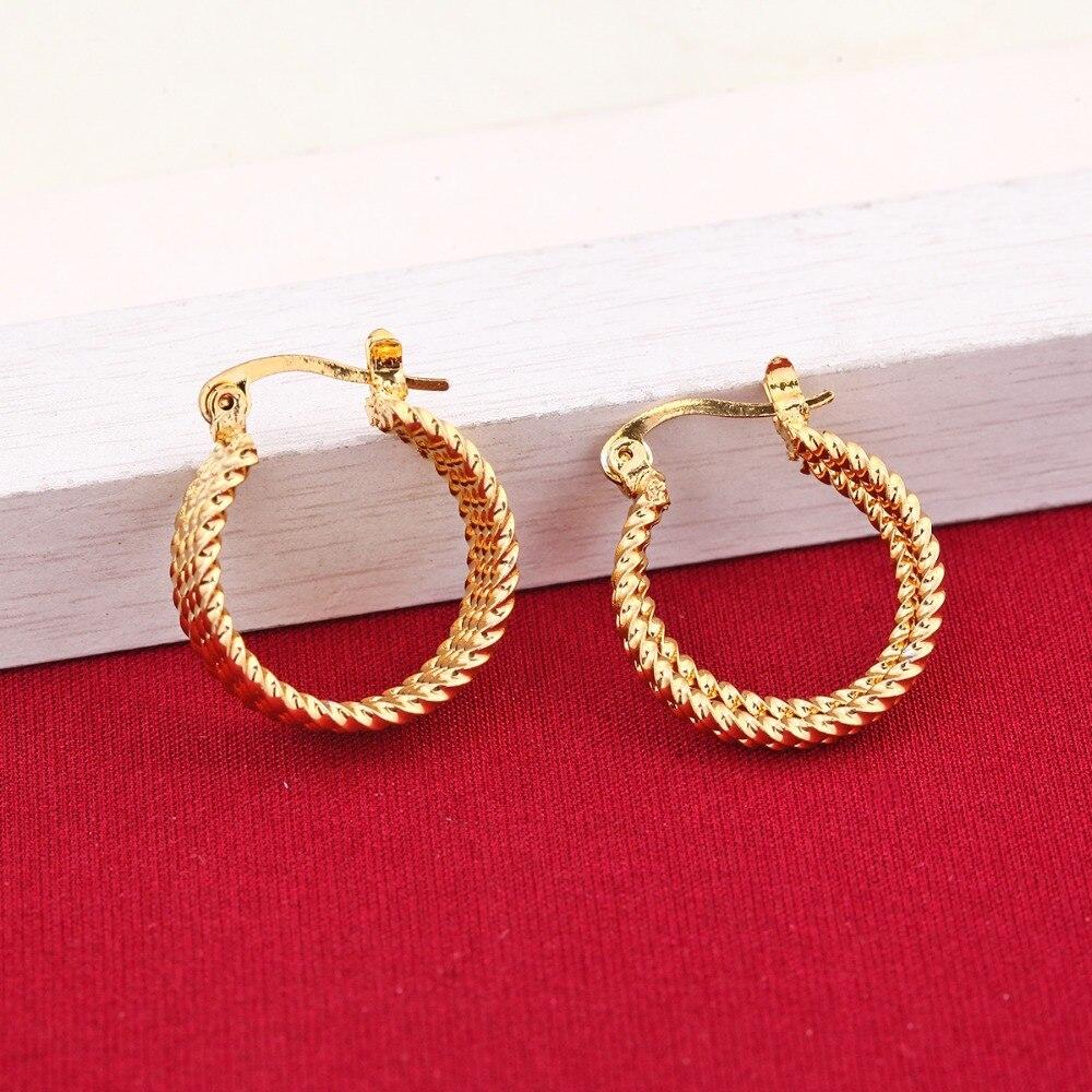 Greek Huggie Earrings 24K Gold Color Earings For Women Girls Ethnic Jewelry Wedding Party Cool Fashion Sale