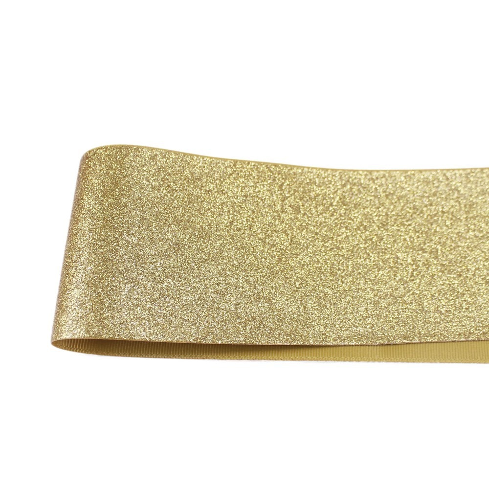 T.R RIBBON 3'' 75mm full glitter grosgrain polyester sparkle sprayed ribbon Gift Wrap ribbon 687 gold 10yards