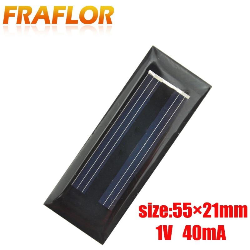 20 piezas 55*21*3mm DIY Mini Solar Placa de resina epóxica de la batería de la célula Solar de 1V 0,04 W 40mA Solar panel de alimentación cargador Led luz Solar Lam
