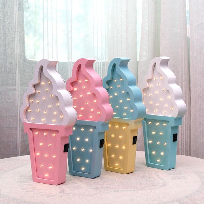 Preciosa lámpara de noche LED 3D de helado de madera para dormitorio de bebé, lámpara de noche a pilas, luces LED de pared para niños, decoración del hogar