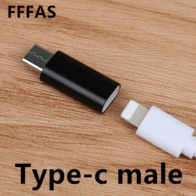 FFFAS tipo C macho a 8 pines hembra convertidor de Cable USB cargador tipo-c conector adaptador para Apple IPhone Cable Xiaomi Mi6 Huawei