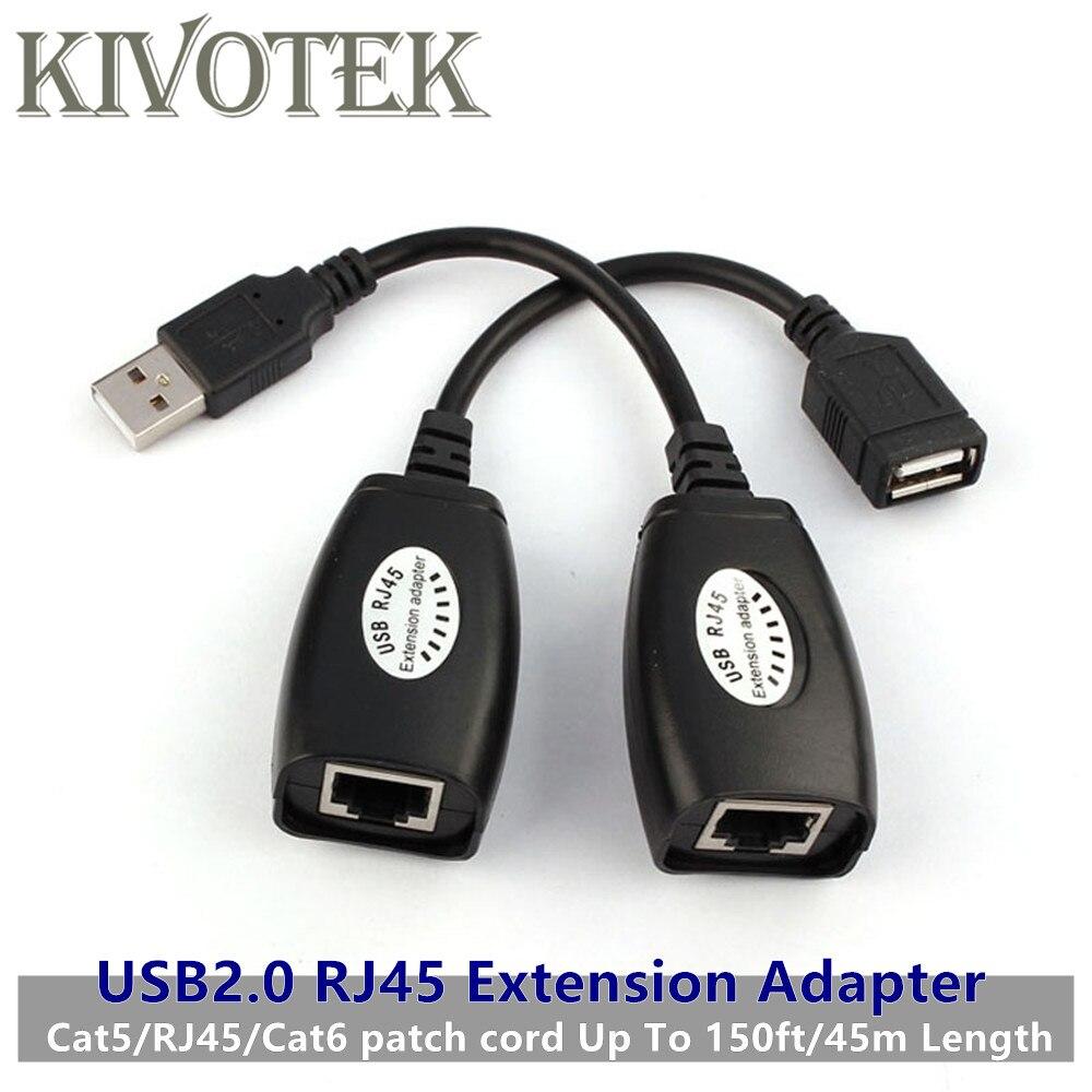Mini USB2.0 RJ45 Adaptador Da Extensão Do Cabo Até 150ft/45m Impressoras CAT5 LAN Conector de Alimentação USB Para PC Portátil, câmera Frete Grátis