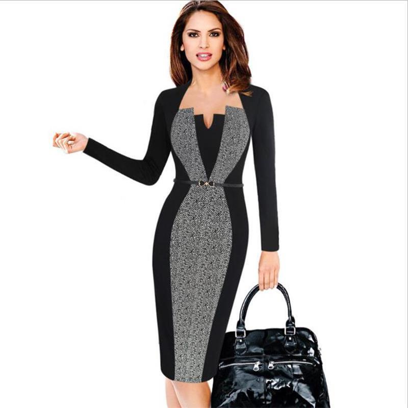 Vestidos de mujer para otoño de 2019, vestido de tubo de manga larga con cuello cuadrado, vestido ajustado informal de negocios para oficina y fiesta