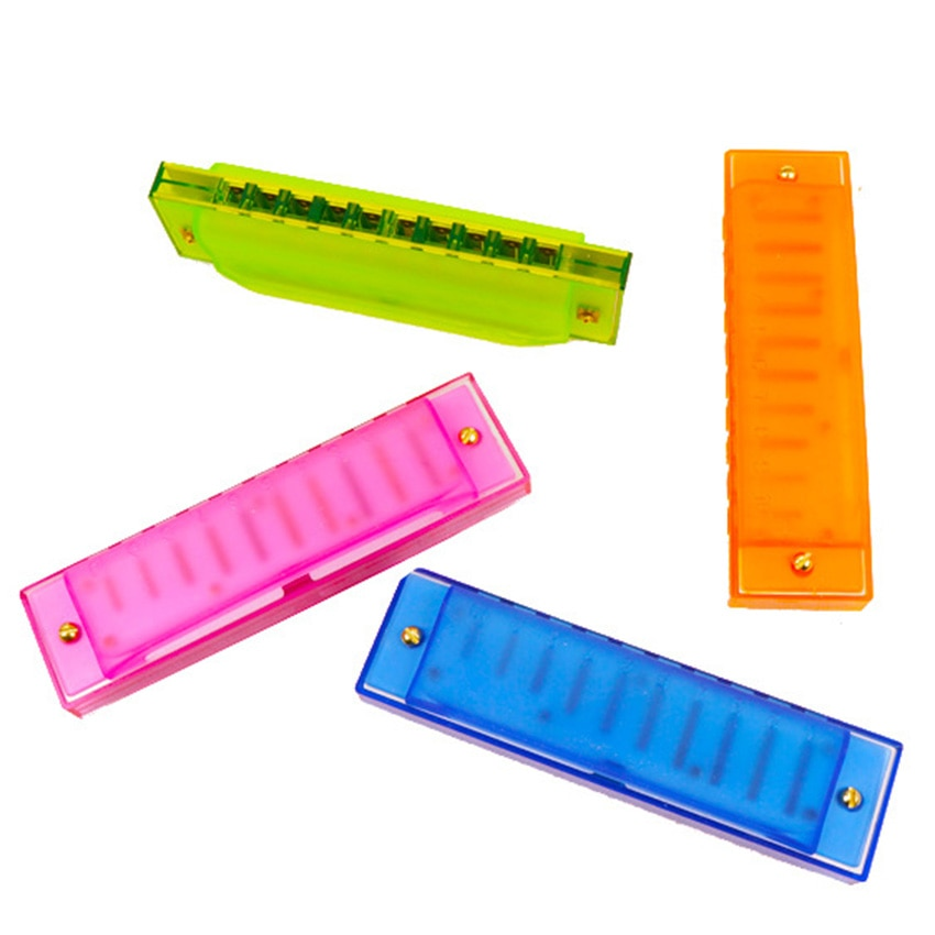 Children Plastic Harmonica 10 Hole Mouth Organ Wind Musical Instrument Eduacational Toy Kids juguete brinquedo Gifts