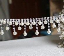Livraison gratuite 1 cour/lot   Garniture avec pampilles et perles, chaîne en cristal et en métal, pour robe de mariée, couvre-chef, décoration