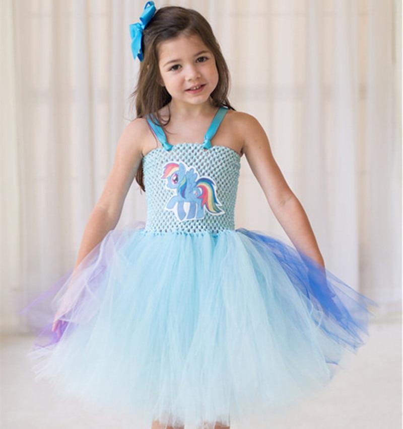 Vestido de graduación mi bebé niña tutú vestido unicornio dibujos animados niñas princesa vestido de fiesta disfraz + arco cabeza 2 piezas