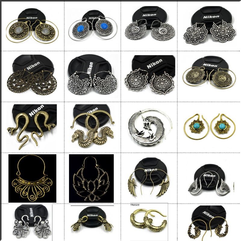 Showlove-2Pcs Brass Ear Weight Different Style  IIndia Tribal Ear Taper Expander Plugs  Piercing Gauge Earrings Body Jewelry