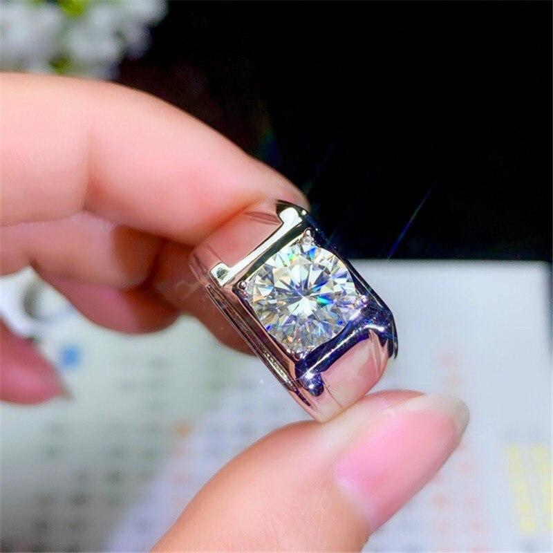 JUNXIN anillos redondos de cristal para hombres y mujeres, bandas de boda, anillo de piedra blanca de circón, compromiso, anillo de compromiso, joyería de fiesta masculina y femenina