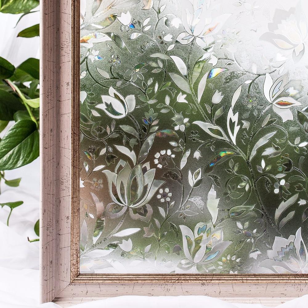 Película de privacidad de ventana de PVC para dormitorio, baño, colores algodón, sin pegamento, flor estática 3D, pegatina de ventana de decoración, Tamaño 60x200cm