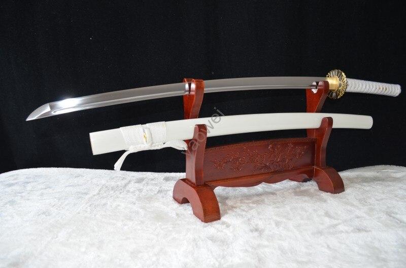 Katana de espada Ninja japonesa, hecha a mano, madera roja, afilada, acero al carbono, hoja completa Tang, puede cortar árbol