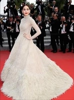 fashionable real fur a line formal occasion dress court train high neck lace celebrity dress regular long sleeves activity dress